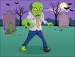 Cartoon illustration of a zombie on graveyard