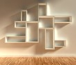 3d modern interior, empty shelf