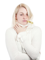Young woman with sore throat and fever thermometer - isolated