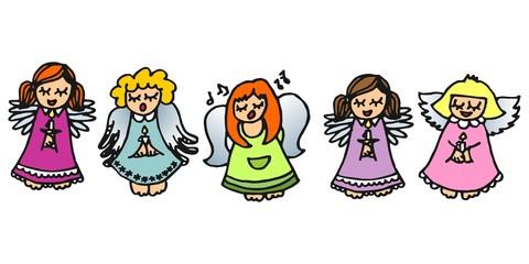pięć kolorowych aniołów na białym tle