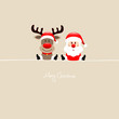 Sitting Rudolph & Santa Beige Background