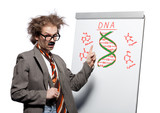 Crazy professor pointing at DNA structure
