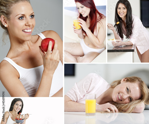 Compilation of women in a healthy lifestyle