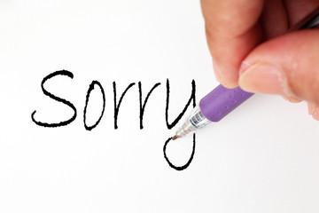sorry hand write