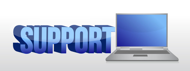 Computer support sign 3d text and laptop