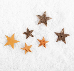 Scattered stars on winter snow