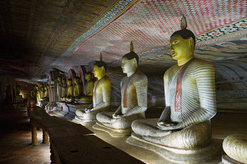 Buddha images in Dambulla rock cave temple, Sri Lanka