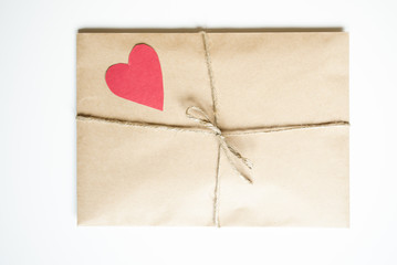 Kraft envelope with heart