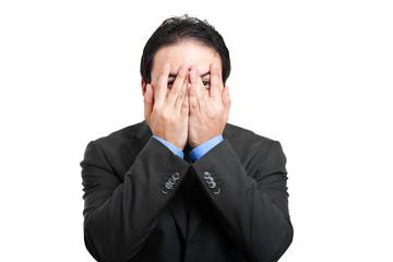 Scared businessman portrait