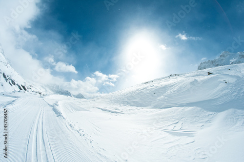 winter landscape with skiing tracks - 45706467