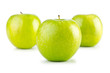 Green apples isolated on the white background