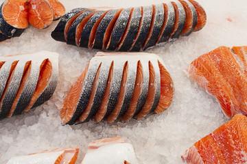 Fresh salmon , fish market