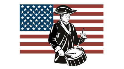 American Patriot Drummer Stars and Stripes Flag
