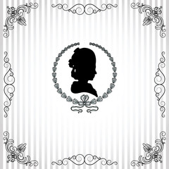 Gray background with black silhouette of lady vignette frame