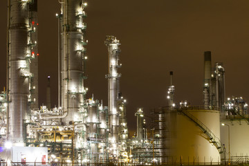 A large oil-refinery plant at night