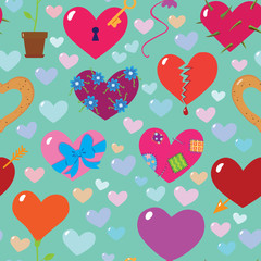 Hearts seamless pattern background