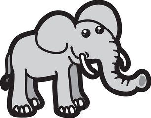 Isolated elephant cartoon character standing