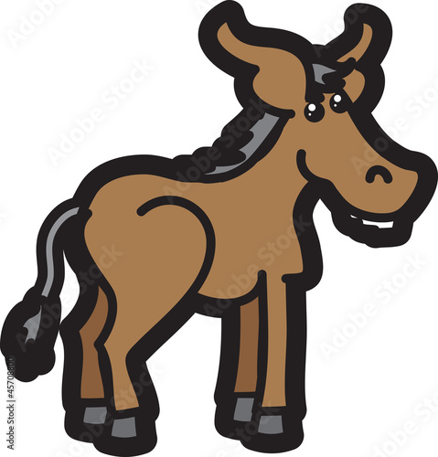 Isolated donkey cartoon character standing