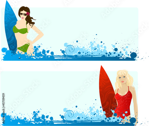 Banners with surfing girls