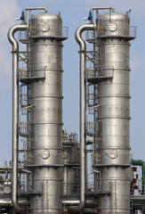 Close-up of an oil-refinery plant