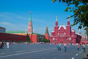 Tourists walking on Red Square in Moscow, Russia