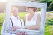 Lovely laughing wedding couple