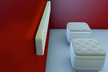 beige Cube chairs in a red room