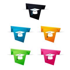 Symbole vectoriel papier origami diplômé