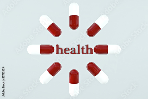 health concept illustration with pills
