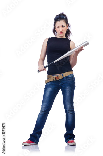 Woman criminal with bat on white