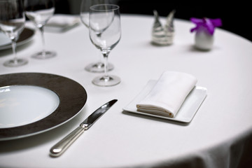 Restaurant, table, dîner, luxe, gastronomie, chic, nappe