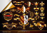 Collection of golden heraldic elements
