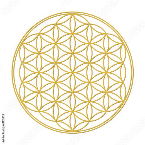 Blume des Lebens Gold mit Schatten