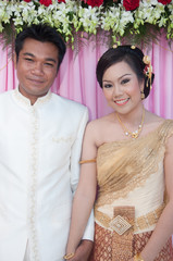 asian thai couple bride and bridegroom in thai wedding suit at w