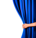 Background with blue velvet curtain and hand.