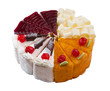Variety of slice cakes isolated on white background