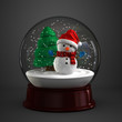 3d render of a snow globe with snowman in dark background