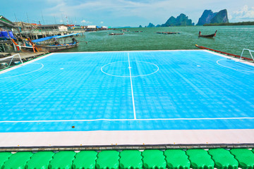 Only one on the world,floating field soccer,Pang-nga,Thailand