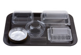 Tray of empty bakery plastic package utensils for storage bread poster