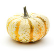 Single white, striped harvest pumpkin over a white background