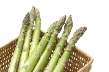 Fresh asparagus on containers