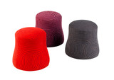 Red purple brown fabric stools in modern design isolated