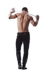 athletic man dance striptease with chain isolated