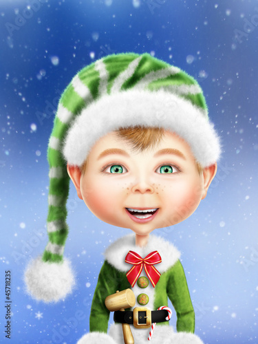 Whimsical Christmas Elf Boy