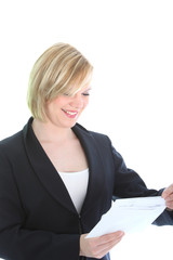 Smiling business woman receiving good news