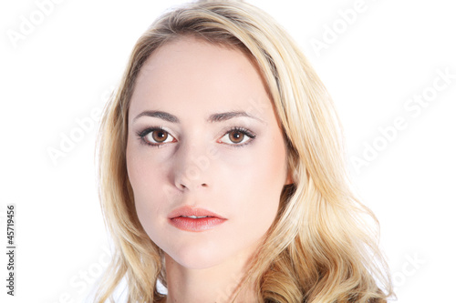 Woman with expressionless face