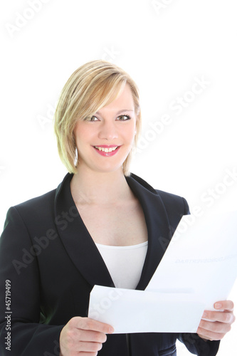 Happy businesswoman with a letter
