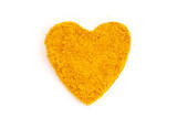 Heap ground Curry (Madras Curry) isolated in heart shape on whit