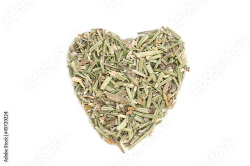 Rosemary (Rosmarinus officinalis) isolated in heart shape on whi