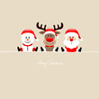 Sitting Snowman, Rudolph & Santa Beige Background
